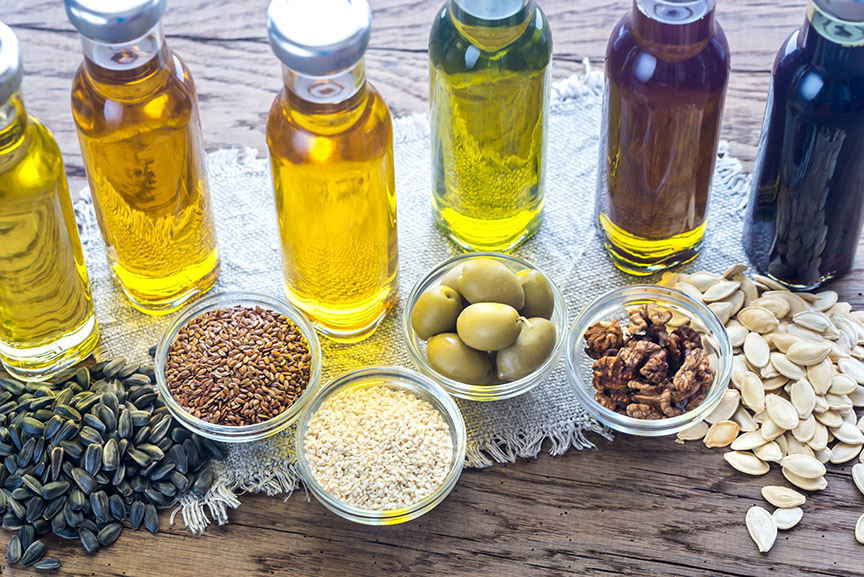 Cooking oils in bottles