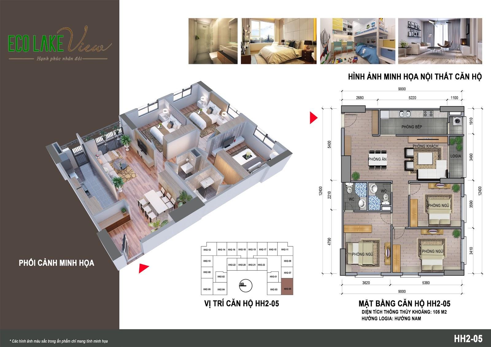 Mặt bằng căn hộ số 05 tòa HH02