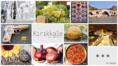 Kırıkkale'nin meşhur şeylerini gösteren resimlerden oluşan kolaj