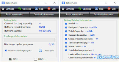 Check the battery health using Batterycare