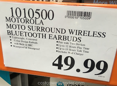 Deal for the Motorola Moto Surround Wireless Bluetooth Earbuds at Costco