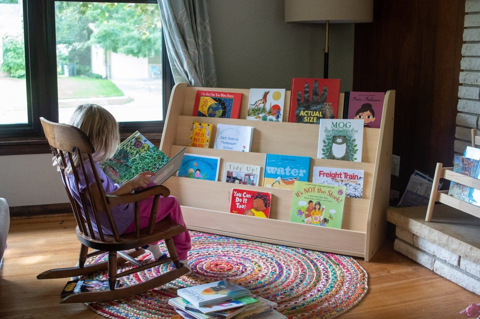 A look at how we store and rotate books in our Montessori home.