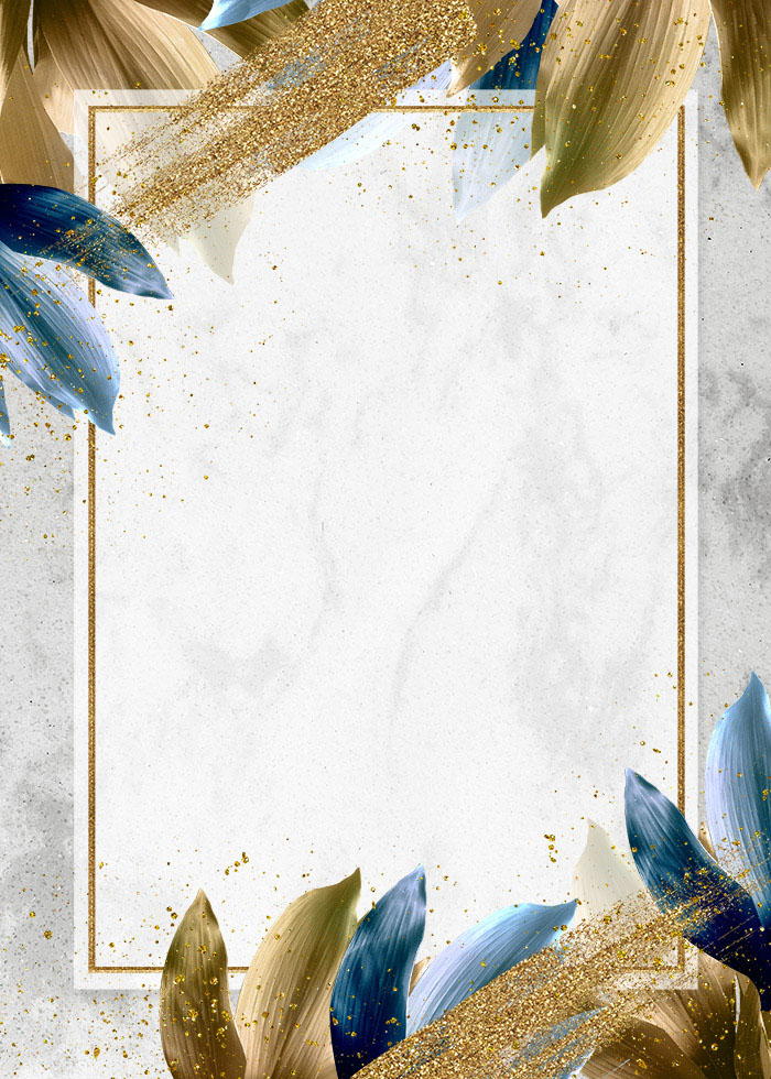 Blue And Golden Leaves Gold Editable PSD