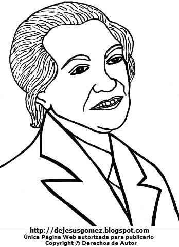 Dibujo de Gabriela Mistral sonriendo para pintar imprimir. Gráfico de Gabriela Mistral de Jesus Gómez