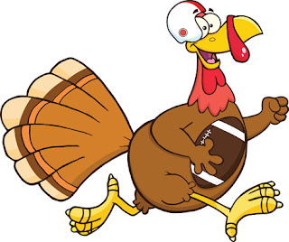 Clipart image of a Thanksgiving turkey carrying a football