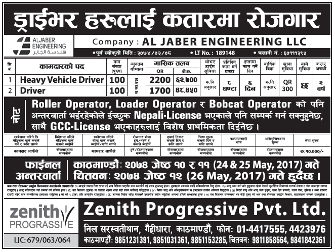 Jobs in Qatar for Nepali, Salary Rs 62,700