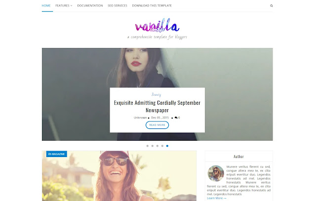 Vanilla Responsive Personal Blog Girl Blog Lifestyle Diary Sites Blogger Template Theme