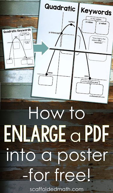Are you looking for a free way to enlarge a pdf to print on multiple pages? To make a classroom poster for your bulletin board from a pdf?  In this post are 3 simple steps to make this happen. You will be able to enlarge any pdf into a multi-page poster to hang in your classroom.
