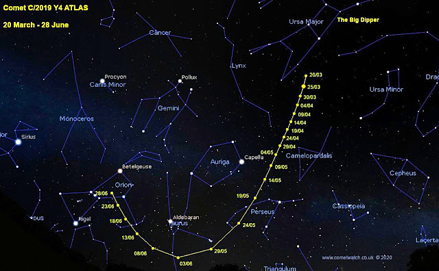 The predicted path of Comet C/2019 Y4 ATLAS thru June 18th, 2020. Graphic credit: www.cometwatch.co.uk