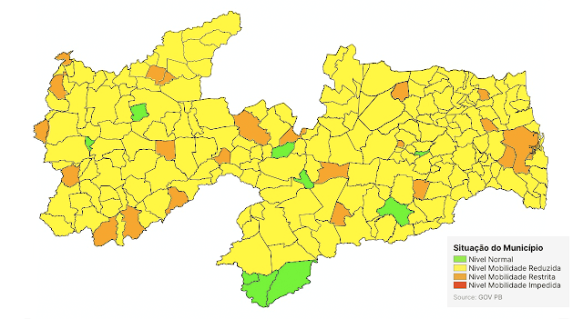 Paraíba tem 86% das cidades em bandeira amarela; veja lista