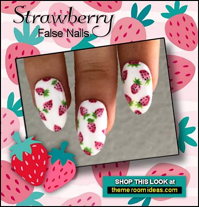 Cute Strawberry false Nails strawberry fruit nails Pink Red Strawberry Stripes nail art  strawberries nail decorations