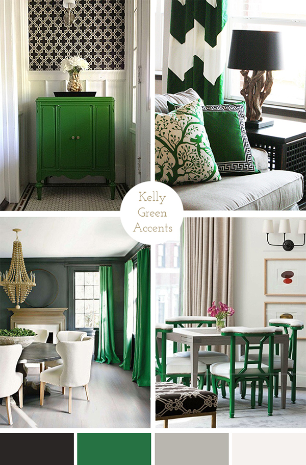 The pink doormat kelly green accents - Green living room ideas decorating ...