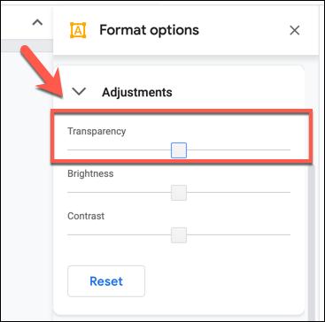 غيّر مستوى الشفافية باستخدام شريط التمرير في علامة التبويب خيارات التنسيق> التعديلات في رسومات Google