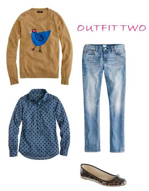 J.Crew french hen sweater, jacquard dot popover, jeans, classic ballet flats