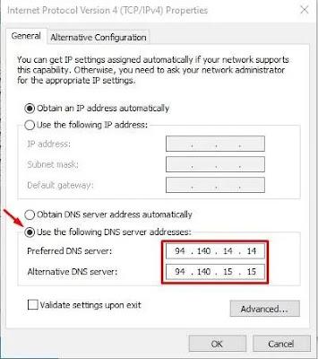 Masukkan Alamat Server DNS AdGuard