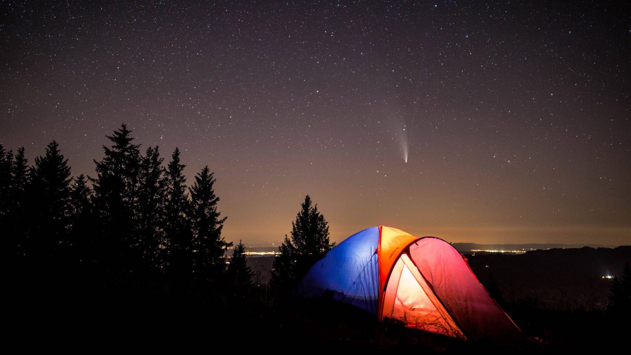 Tent, Camping, Comet, Night Starry Sky