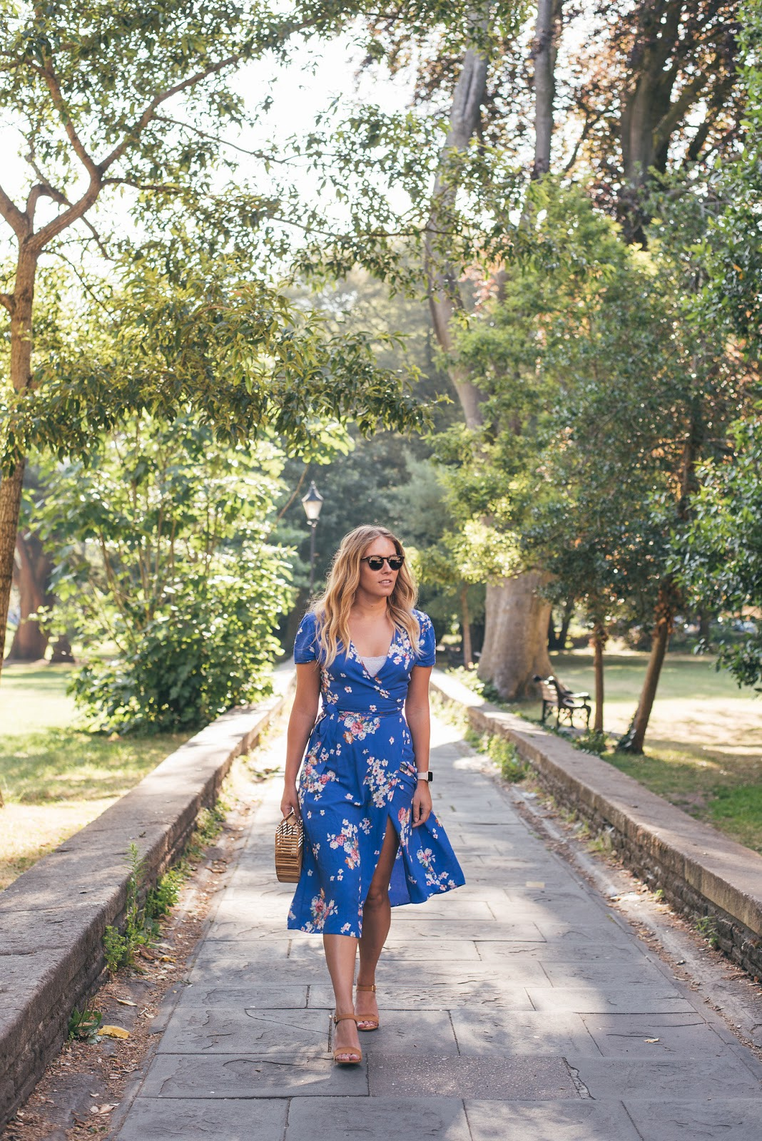 Primark Blue Floral Wrap Midi Dress with Cult Gaia Dupe Bamboo Bag from PrettyLittleThing