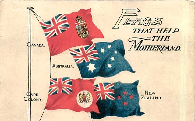 Vintage illustration, flags that help the motherland. Canada, Australia, New Zealand and Cape Colony. Laser Kiwi. marchmatron.com
