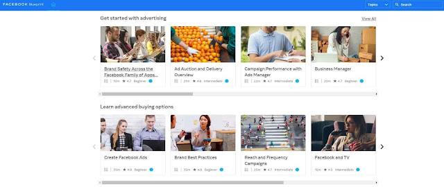 دروس في التسويق علي فيس بوك من موقع Facebook blueprint