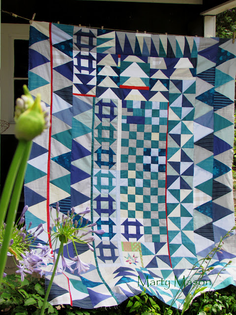 blue homespun - a finished improvisational style quilt top by Marty Mason