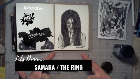 We Drew Samara from The Ring - Inktober 2018