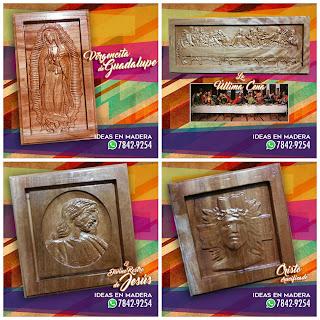 Cuadros Decorativos en Madera de la Virgen de Guadalupe, Jesús y la Santa Cena