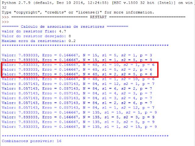 Resultado do cálculo da associação de resistores