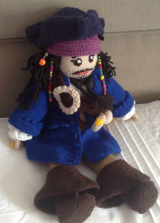 picture of knitted pirate doll