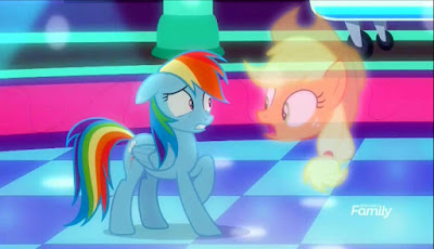 On the dance floor, Rainbow looks worried as Applejack's ghostly head warns her about something