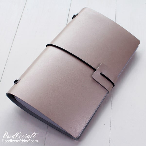 Make a refillable leather journal with Cricut metallic leather, elastic cord and metal eyelets.