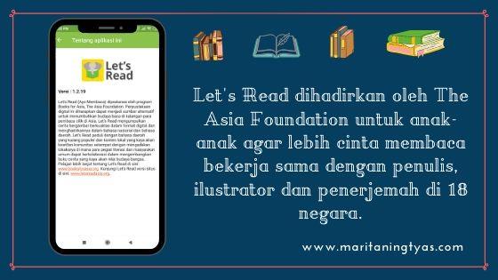 Let's Read didirikan oleh The Asia Foundation untuk menumbuhkan minat baca anak