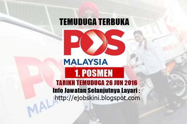 temuduga terbuka di pos malaysia berhad 2016