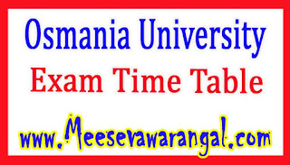 Osmania University PG Diploma in Law 1st Sem Jan 2017 Exam Rescheduled Time Table
