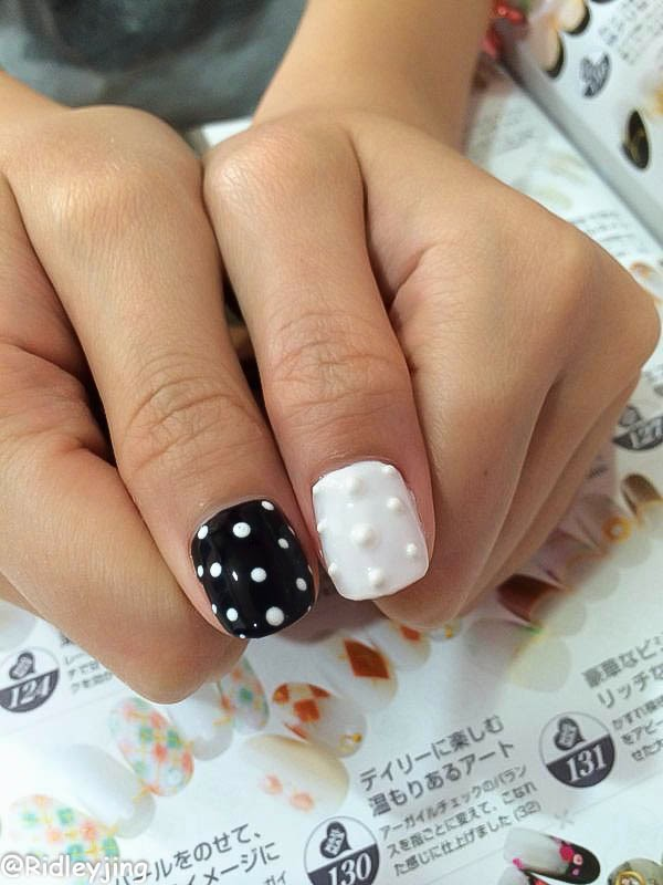Decided to did some 3d nail arts too by using white and black color gel color it was a new thing for me because its 3d and for your knowledge