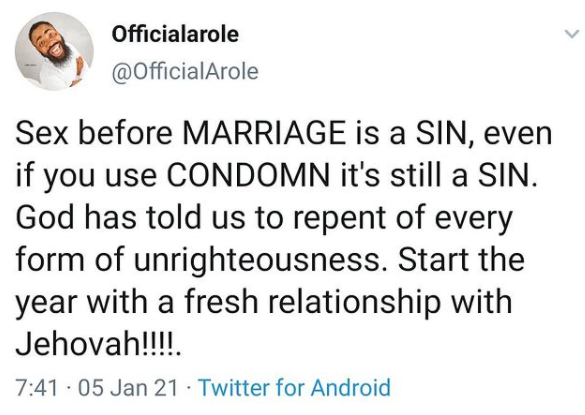 Comic Arole on sex before marriage, says it's sin with or without condom