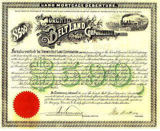 Toronto Belt Land Corporation Land Mortgage Debenture