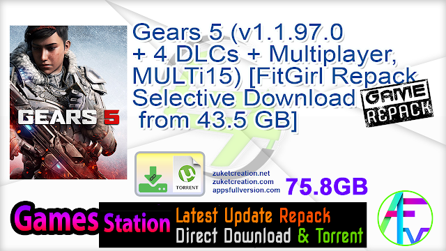Gears 5 (v1.1.97.0 + 4 DLCs + Multiplayer, MULTi15) [FitGirl Repack, Selective Download – from 43.5 GB]