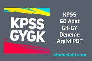 KPSS 60 Adet GK-GY Deneme Arşivi PDF