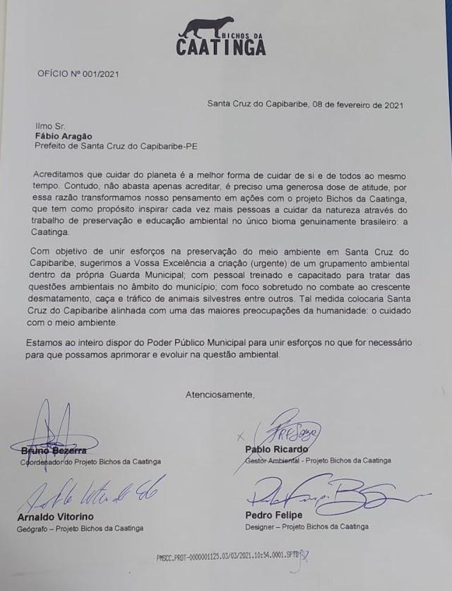 Projeto Bichos da Caatinga sugere criação de grupamento ambiental na Guarda Municipal de Santa Cruz