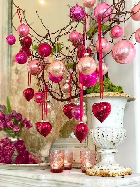 Valentine's Day Interior Decor; Nora's Nest, pink antique ornaments, DIY antique red heart ornaments