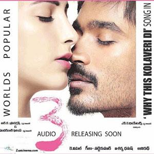 Dhanush's 3 Telugu Audio Songs Launch on Mar 20th