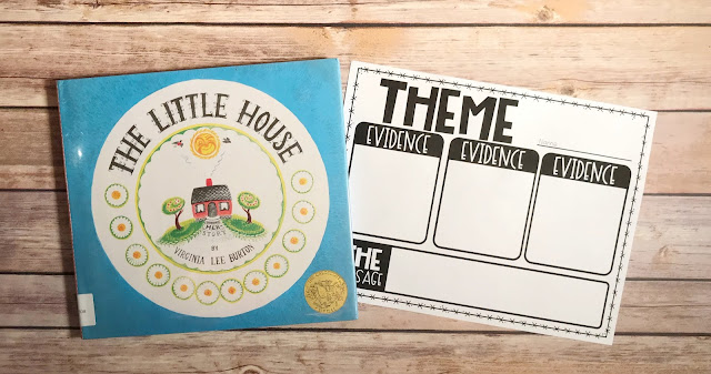 "Mentor Text with text ""The Little House"" and Graphic Organizer with text ""Theme"""