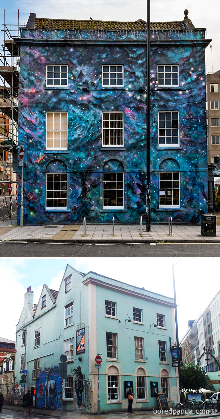10+ Incredible Before & After Street Art Transformations That'll Make You Say Wow - Full Moon Hostel, Bristol, UK