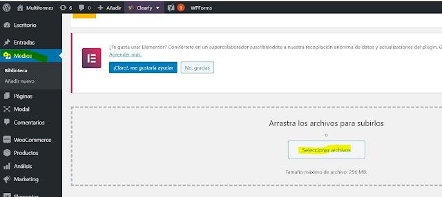 """En tu panel de Wordpress da clic en la opción medios selecciona Añadir nuevo, y luego da clic en el botón que dice """"Añadir nuevo"""", """"Seleccionar Archivos"""", y sube la imagen que has escogido."""