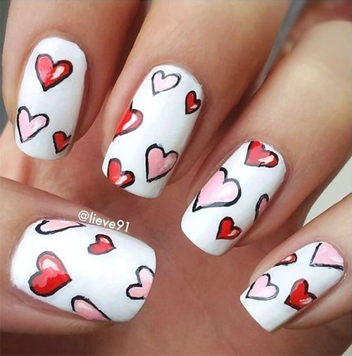 15+ Valentine's Day Heart Nail Art Designs & Ideas 2019