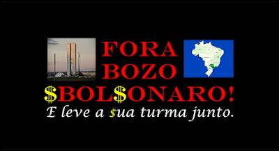 A imagem de fundo preto e num lado o Congresso Nacional e no outro o mapa do Brasil. Tem uma frase no meio fora bozo ou Bolsonaro e leve a sua turma junto.