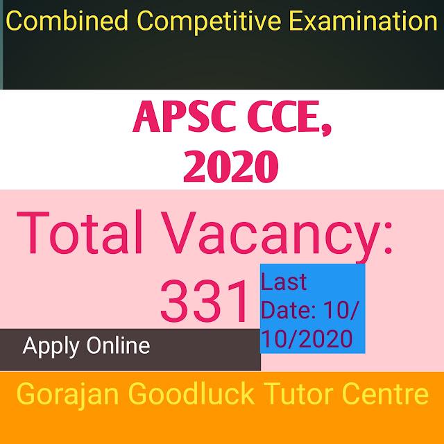 APSC CCE,2020 , ONLINE APPLY
