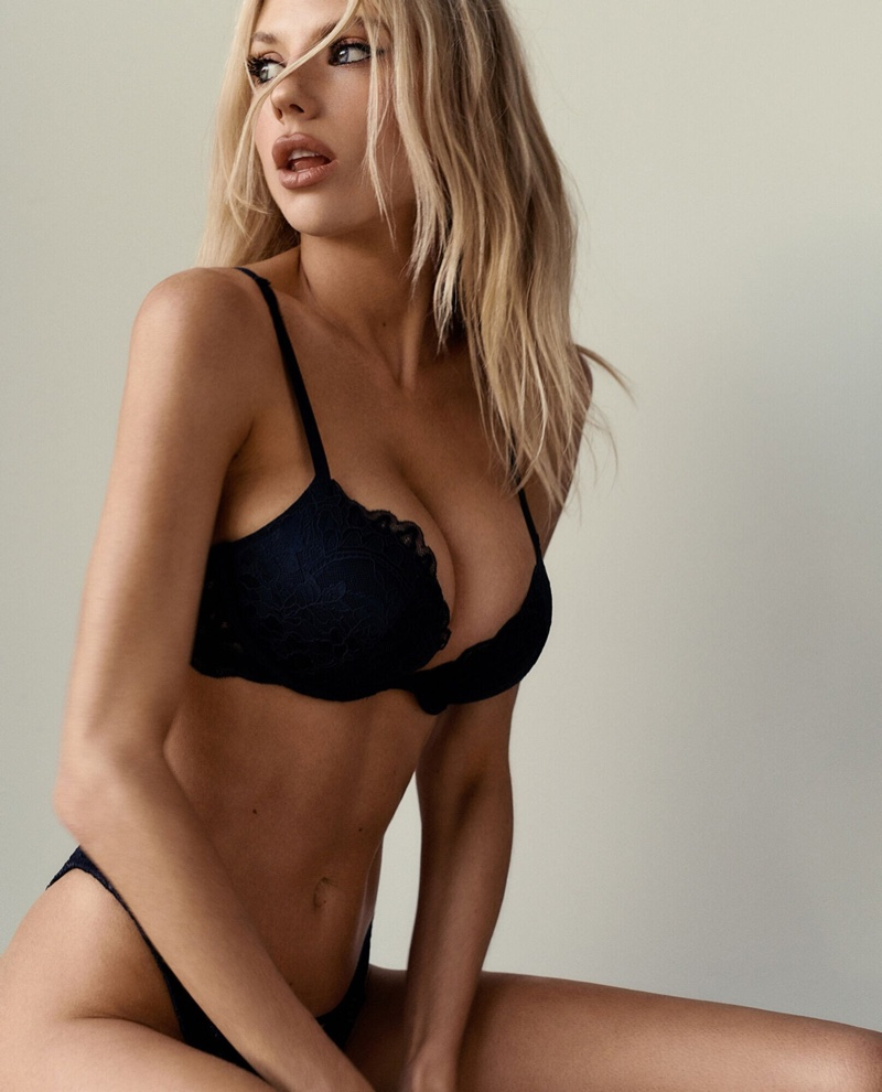 The sexy blonde model poses in a campaign for lingerie brand La Senza.
