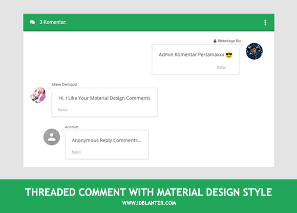 Membuat Material Design Threaded Comment di Blog