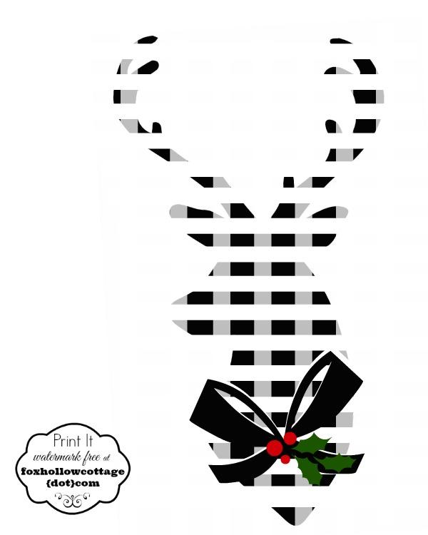 Gingham deer Christmas printables